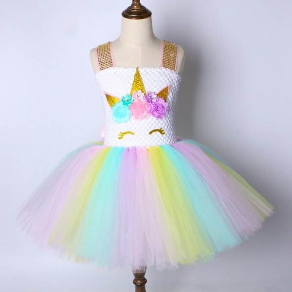 Enfants Filles Licorne Tutu Dress Rainbow Princesse Enfants Fête D'anniversaire Dress Filles De Noël Halloween Pony Cosplay Costume 1-14