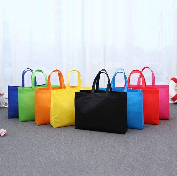 LOGO Nonwoven kumaş Reticule Reklam alışveriş çantaları özelleştirmek Çevresel hediye çanta Işık Giyim çanta Saf renk A02