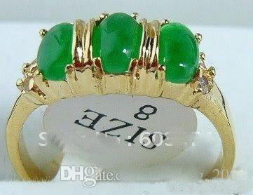 Wholesale cheap Emerald green jade 3 Bead 18KGP Ring size: 7.8.9 free
