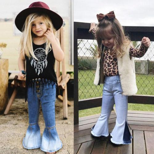 Toddler Baby Kids Girls Denim Bell Bottom boot cut Pants Jeans Wide Leg Trousers 2-7Yrs jeans for girls children's