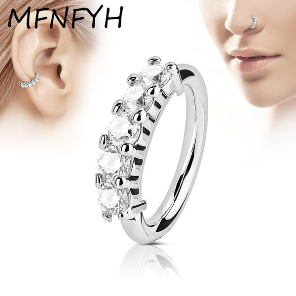 wholesale 10PCS Sexy Zircon Crystal Nose Rings and Studs Stainless Steel Septum Piercing Nose Hoop Indian Body Jewelry for Women