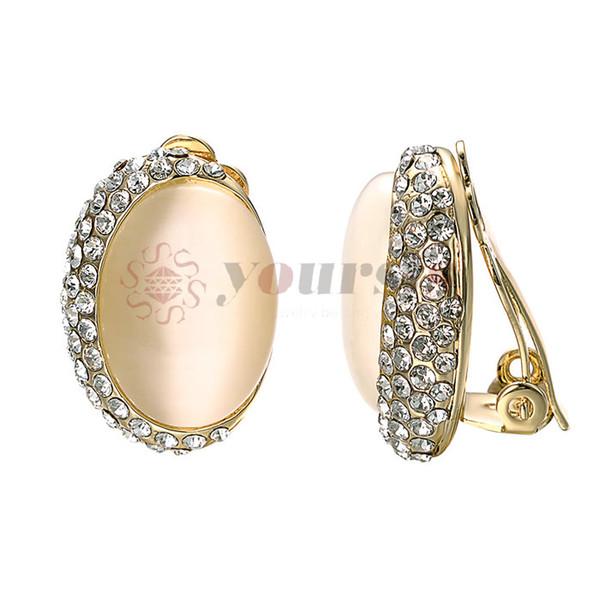 Yoursfs Free Shipping Fashion Jewelry Rose Gold Color Trendy OL Zircon Opal Earrings for Women Girls Drop Shipping Gift