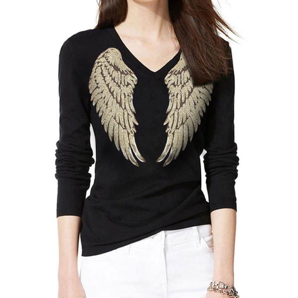 2018 панк-рок стиль крылья ангела аппликации футболка женская летняя блестка футболка Harajuku женская повседневная футболка с длинным рукавом футболка