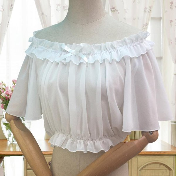 White Off the Shoulder Women's Chiffon Crop Top Short Batwing Sleeve Chiffon Blouse Lolita Sexy White/Black classic lolita Top