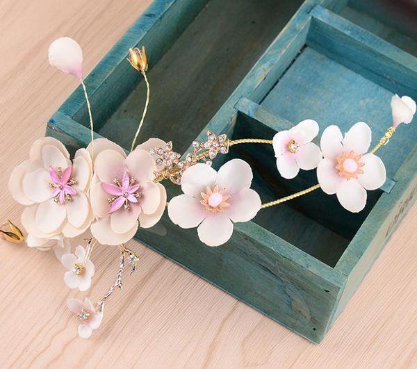 Bride jewelry, bride handmade headwear, pink flower fairy, curving headwear, crystal beads, new style.