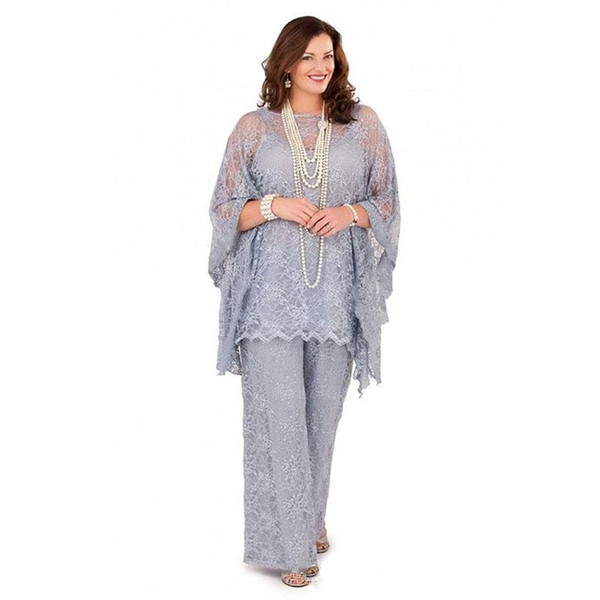 6ef79c1a0e Grey Three Pieces Mother Of The Bride Suits Lace Spaghetti With Long  Sleeves Jacket Formal Wearing Pants