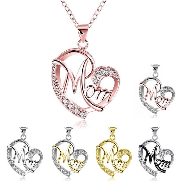 7 Styles Silver Gold Love MOM Necklace Beloved Crystal Heart English Letters Pendant Necklace Gift for Family