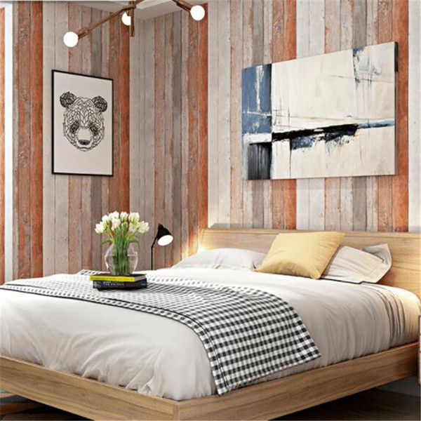 Beibehang Retro Vintage Scandinavian Style Faux Wood Grain Board Antique Wallpaper Industrial Style Bar Restaurant Wallpaper Wallpapers For Desktop