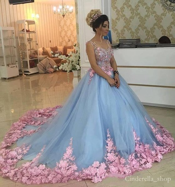 2018 Quinceanera Dresses Light Sky Blue With Pink 3D Floral Ball Gown Sweep Train Spaghetti Beading Prom Party Gowns For Sweet 15 Girls