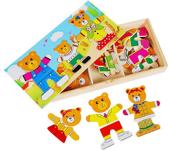 Little Bear Exchange Clothes Scene Toys Dressing Jigsaw Diy Toys Three Little Bear Exchange Clothes Dressing