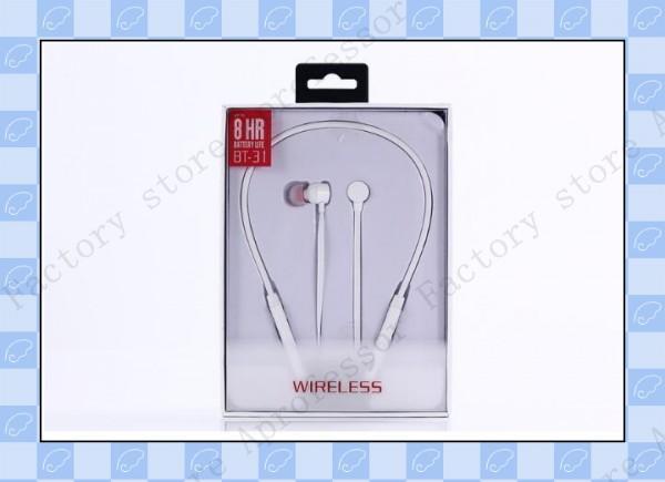 Auriculares inalámbricos de bluetooth, auriculares inalámbricos, deporte collar BT-31 para iphone 7 8 samsung s8 s9 vs i7s