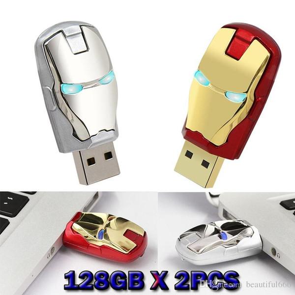 O homem do ferro dos vingadores da capacidade real de 100% conduziu a movimentação 32GB do flash do usb da movimentação da pena da iluminação ~ 128GB