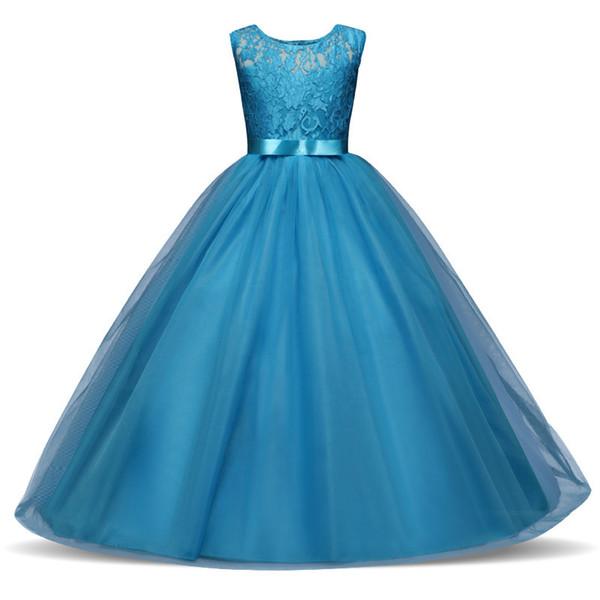Embroidery princess dress wedding flower girl birthday dress pageant recital party clothing wedding flower