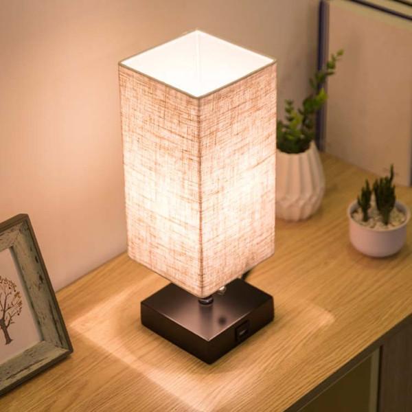 Lâmpada de mesa de USB do candeeiro de mesa do diodo emissor de luz, nightlight da lâmpada de leitura para o quarto com máscara original e base de Brown