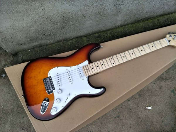 Factory wholesale electric guitar and SSS pickup, White Pickguard, maple leaf board, custom made, free delivery.