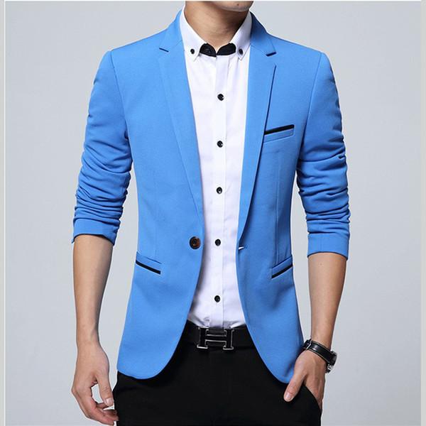 Hommes Blazer Slim Fit 2018 Designs Plus La Taille 5XL Smart Casual De Luxe Hommes Costume Veste Blazers Bleu Nouveau Printemps De La Mode Marque Manteau