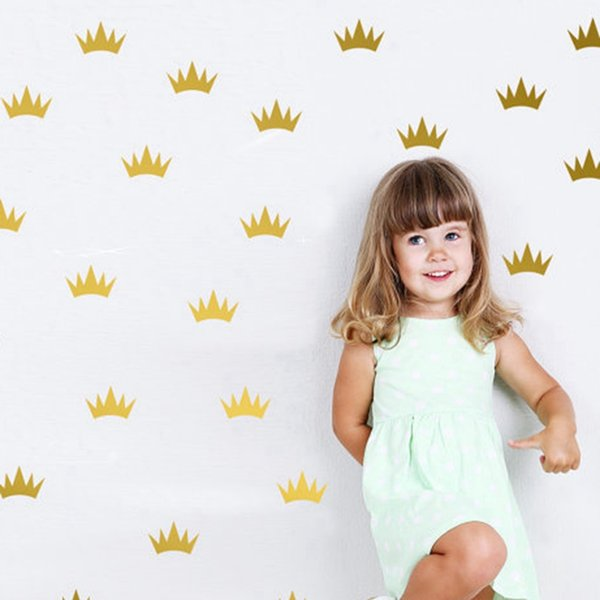 Home Decoration Posters Wall Stickers Free shipping Princess Crown Stickers , Kids Girl Wall Decor Mini Princess Crown Decal For Party