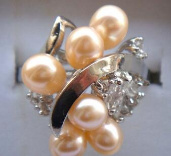 Free ShippinG lady's charm cultured pink fresh water pearl CZ ring #7,8,9