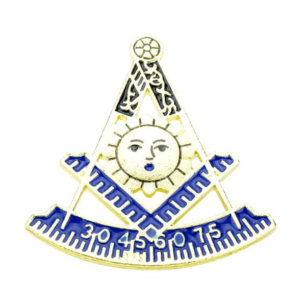 MQCHUN Gold Masonic Solapel Pins Masones Gratis Insignia Broche Pins Masonería Masonería Master Mason Aleación Metal Craft Gift para Hombres