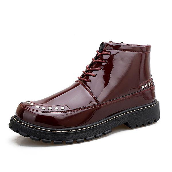 2018 otoño e invierno nuevos zapatos de cuero de los hombres coreanos cuero brillante Liuding hombres herramientas botas locomotora salvaje alta ayuda Martin botas