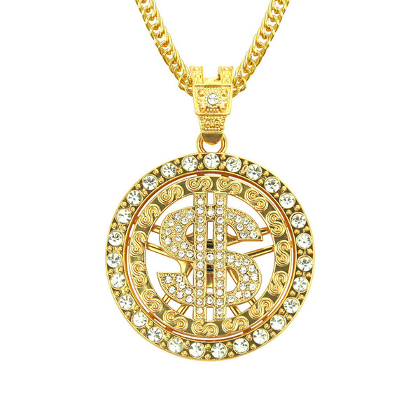 Fashion Round Dollar US Money Sign Chain With Rhinestone Gold Plated Hip Hop Rap Singer Fashion Jewelry For Men Women
