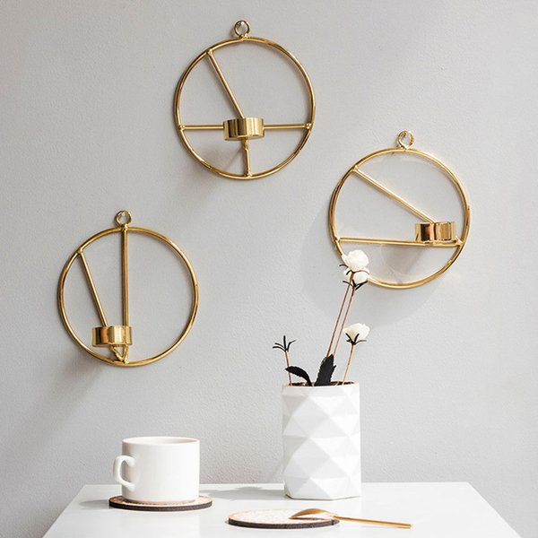 Visual Touch Nordic Style 3D Geometric Round Candlestick Metal Wall Candle Holder Sconce Tealight 15cm/5.9in, Gold