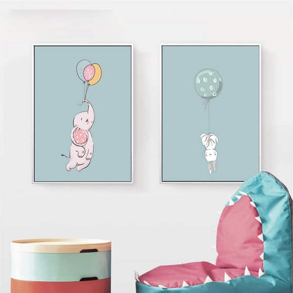 Lovely Animal Rabbit Elephant Balloon Wall Art Canvas Posters Prints Unframed Painting Decorative Picture Kids Room Decoration