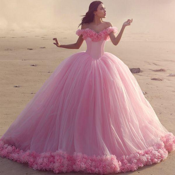 Compre Vestidos De Fiesta Formales De La Princesa Rosa 2019 Fuera Del Hombro Vestido De Fiesta Vestidos De Fiesta Elegantes 3d Flores Hechas A Mano