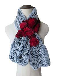 Women Winter Real Rex Rabbit Fur with three Flowers Handmake Knitted Scarf Warm Soft