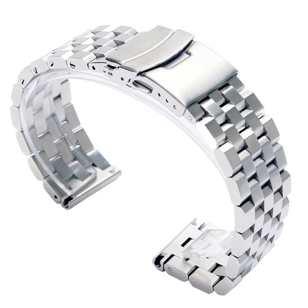 Luxury 22/20mm Silver/Black Solid Link Stainless Steel Watch Band Folding Clasp with Safety Watches Strap Bracelet Replacement