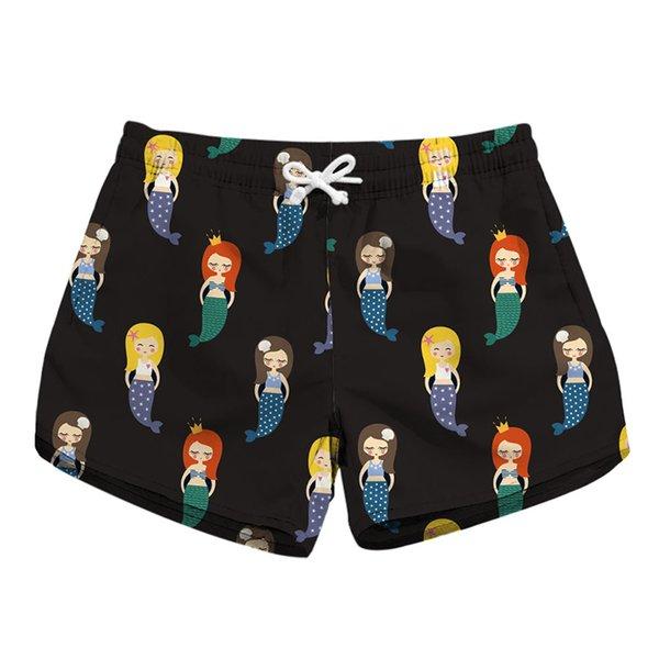 Pantalones cortos de playa para mujer Pantalones cortos de sirena con estampado completo en 3D Pantalones cortos de natación para mujer Pantalones de playa con gráfico digital (BJD-6035)