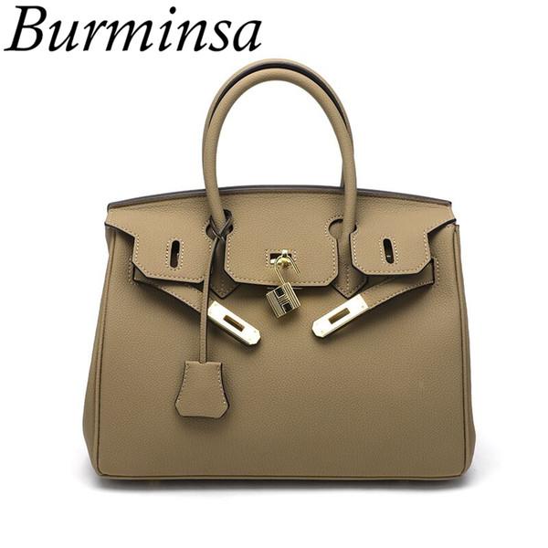 Burminsa Grained Mulheres Bolsas PU Couro Causal Tote Sacos de Ombro Feminino de Luxo Designer de Alta Qualidade Messenger Bags Novo 2018 Y1892608