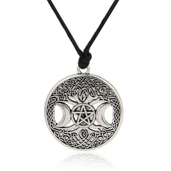 Myshape Handmade Tree Charm Amulet Antique Moon Star Nordic Vikings Pendant Tree of Life Pendant Wristband Cuff Bracelets for Man/Woman