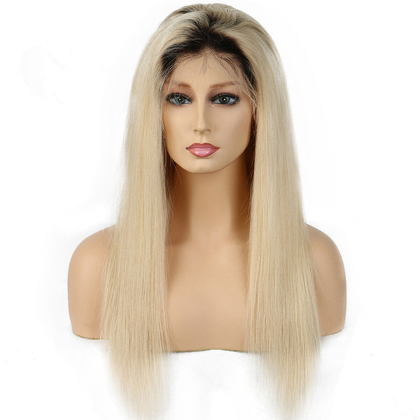 Human Hair Front Lace 1B 613 straight Wig Vrigin Blonde Gluless Remy for Black White Women Free Shipping Natural Hairline