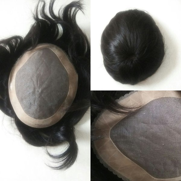 Virgin Human Hair Men's Toupee Hair Piece Toupees For Black Men Indian Men's system Custom Order Free Shipping