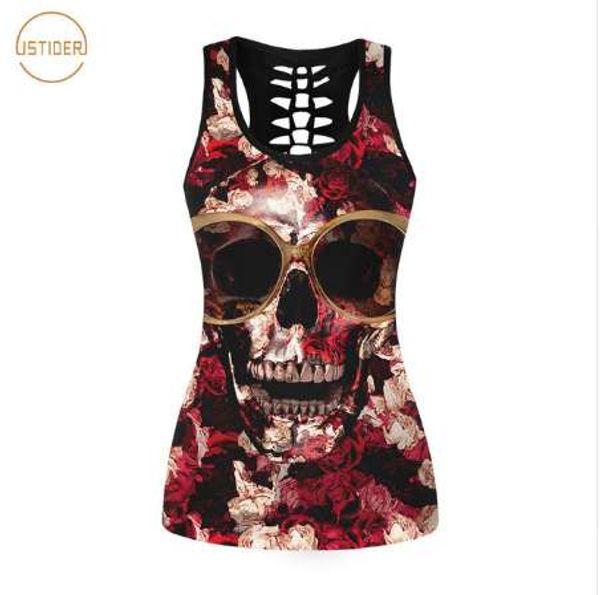 ISTider 2017 New Summer Punk Rock Style 3D Tank Top Women Fashion GUNS N ROSES T Shirt Sleeveless Vest Sexy Hollow Out Shirt