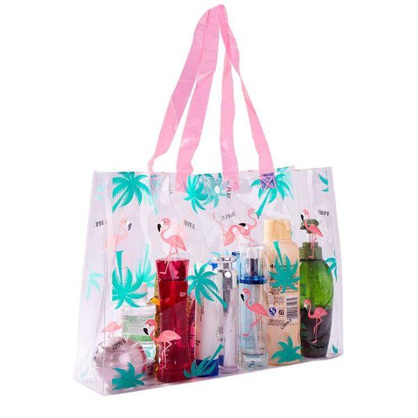 Hot Sale Flamingo Printed Casual Bag Women Pvc Beach Bags High Quality Female Single Shoulder Handbags Ladies Tote Free shipping