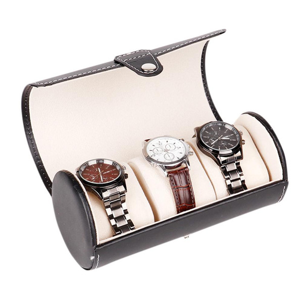 LinTimes Nuevo Color Negro 3 Ranura Caja de Reloj Caja de Viaje Muñeca Rollo de Almacenamiento de Joyas Coleccionista Organizador