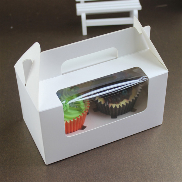 White Paperboard Party Cupcake Boxes Cake Packing Boxes with Window Portable Muffin Box Free Shipping wen5884