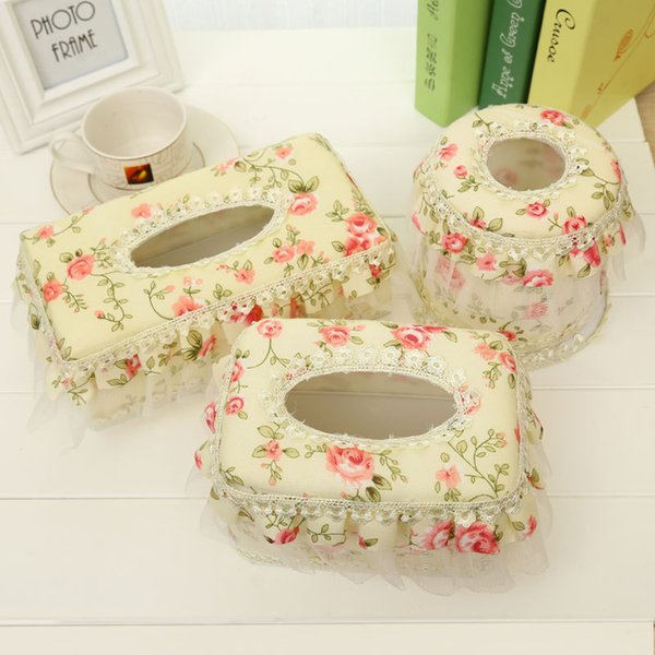 Pastoral lace cloth Roll paper tray Tissue Boxes Pumping Paper Towel Tube Reel Spool for Table Decoration & Accessories HHY1