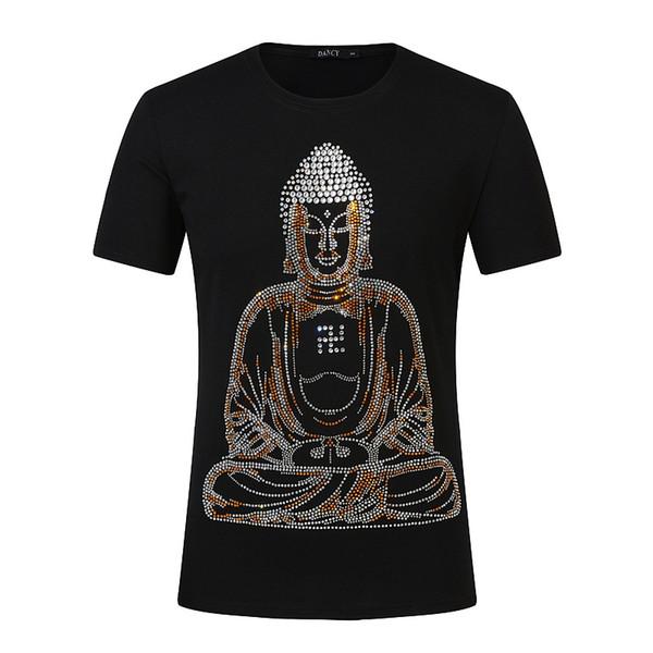 Man cotton half sleeve Sakyamuni character Hot drill Straight tube Short sleeve STREETWEAR T shirt fashion Trend New style