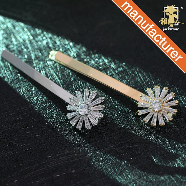 Korean version of exquisite flower gold diamonds in a pair of classic bangs hairpin Yiwu hair accessories manufacturers