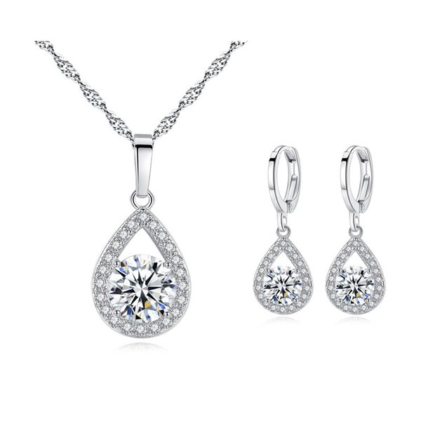 High Quality Sparkling Crystals Cluster Big CZ Teardrop Hoop Earrings Pendant Necklace Fashion Womens Jewelry Sets for Party Wedding