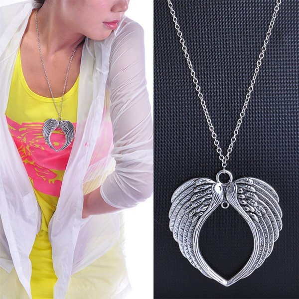 2018 Hot Sell Antique Silver Heart-Shaped Double Angel Wings Charms Pendant Necklace Creative Fashion Women Men Jewelry Holiday Gift