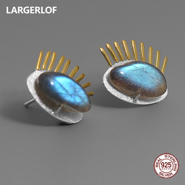 LARGERLOF 925 стерлингового серебра Лабрадорит серьги ручной работы серебро 925 ювелирные изделия Серьги женщин ED50157