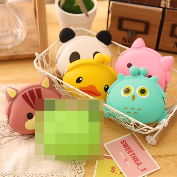 Korea creative coin purse candy - colored cute coin bag card key bag cartoon silicone wallet lady
