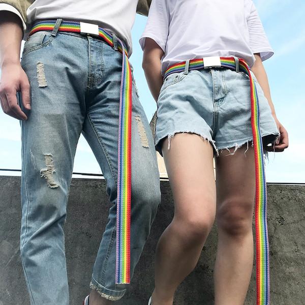 любовник ремни веб-ремень пара ремень тонкий холст мужчины женщины пояс железный квадрат автоматическая пряжка зеркало новый пост синто