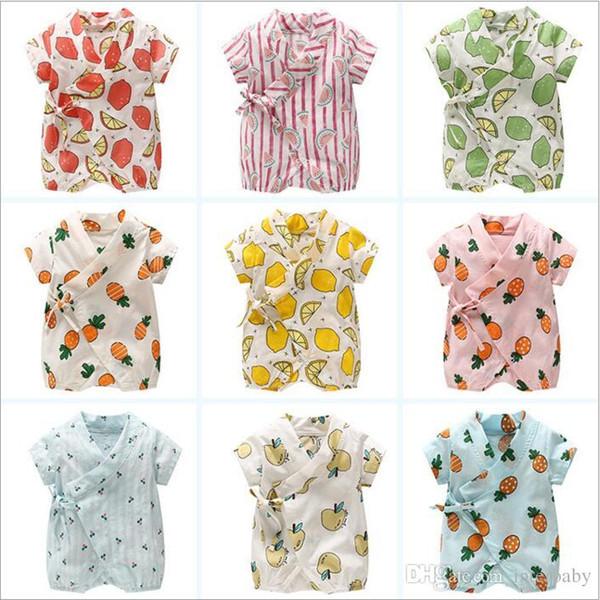 Abbigliamento per bambini Ragazze Ins Fruits Pagliaccetti Moda per bambini Manica corta Body Lemon Stampa Onesies Pigiama Vestiti di notte Tute estive B4160