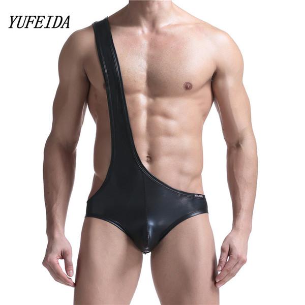 Sexy Männer Unterhemd Wrestling Singulett Bikini Jumpsuit Suspender Teddies Unterwäsche Einteilige schwarze Kunstleder Body