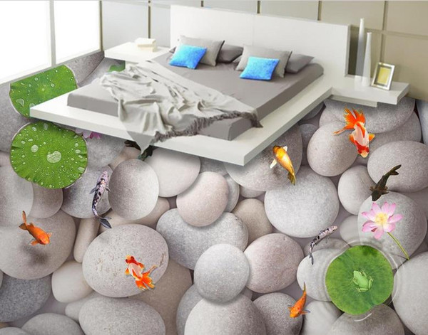 3D Floor Painting 3D Wallpaper For Walls 3 d For Living Room Bedroom Kitchen Large eggstone fish 3D Floor Tiles